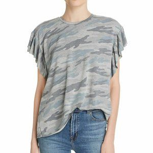 Elan Blue Gray Camo Flutter-Sleeve Sweatshirt Tee